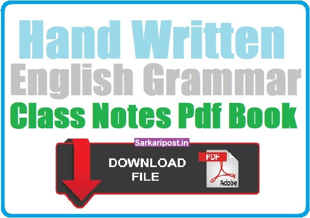 Handwritten English Grammar Class Notes SSC CGl